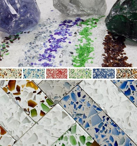 Recycled glass countertops for kitchen, main and master bath and