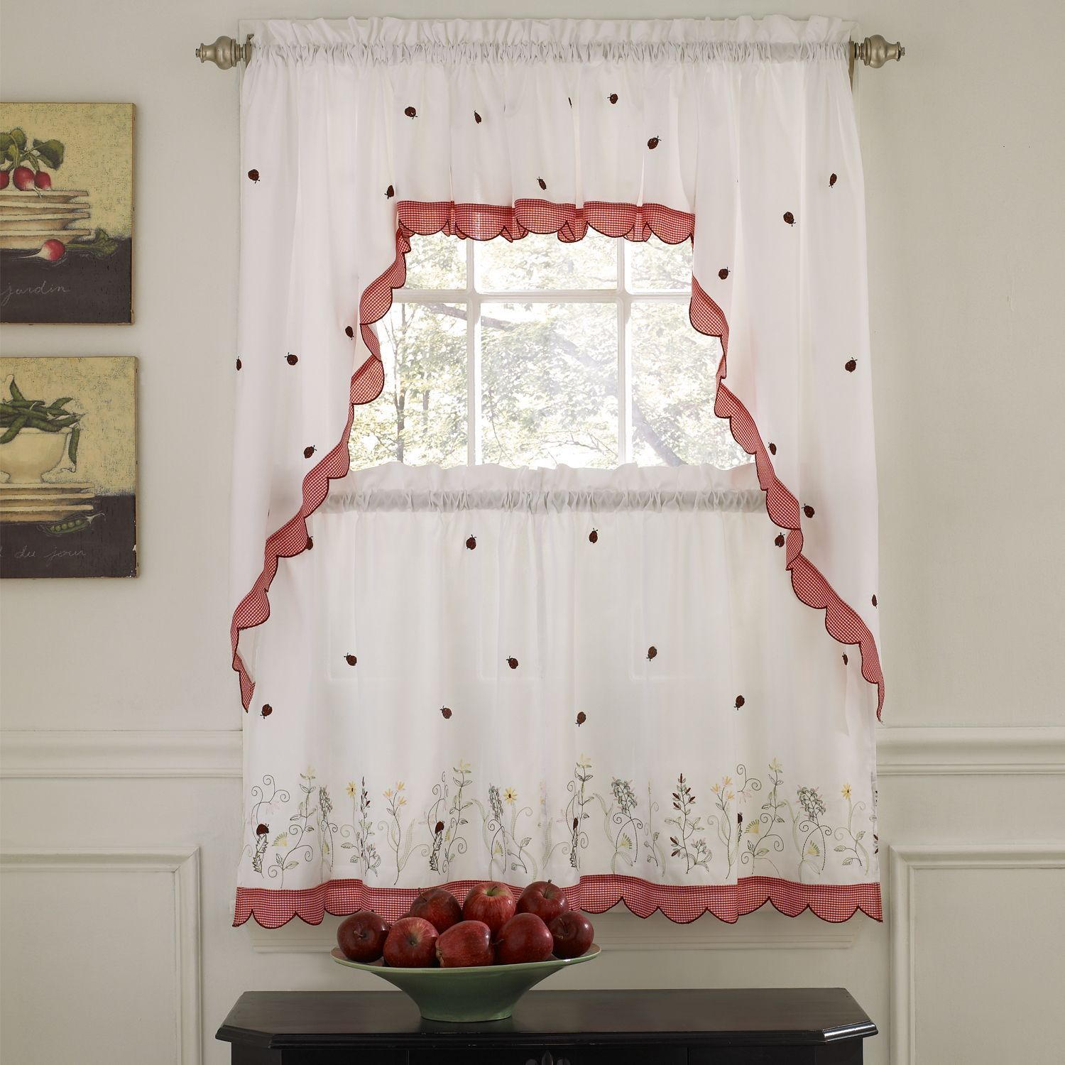 Embroidered Ladybugs Window Curtain Pieces Country Kitchen