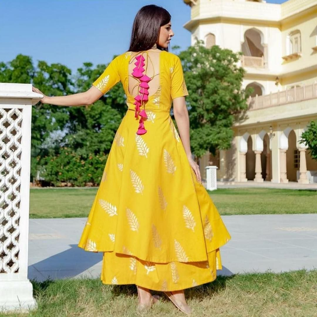 c059c7b815 Tassels and bright hues! Look for the Yellow Leaf Foil Printed Suit ...