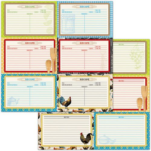 BoBunny - Family Recipes Collection - 12 x 12 Double Sided Paper - double recipe cards