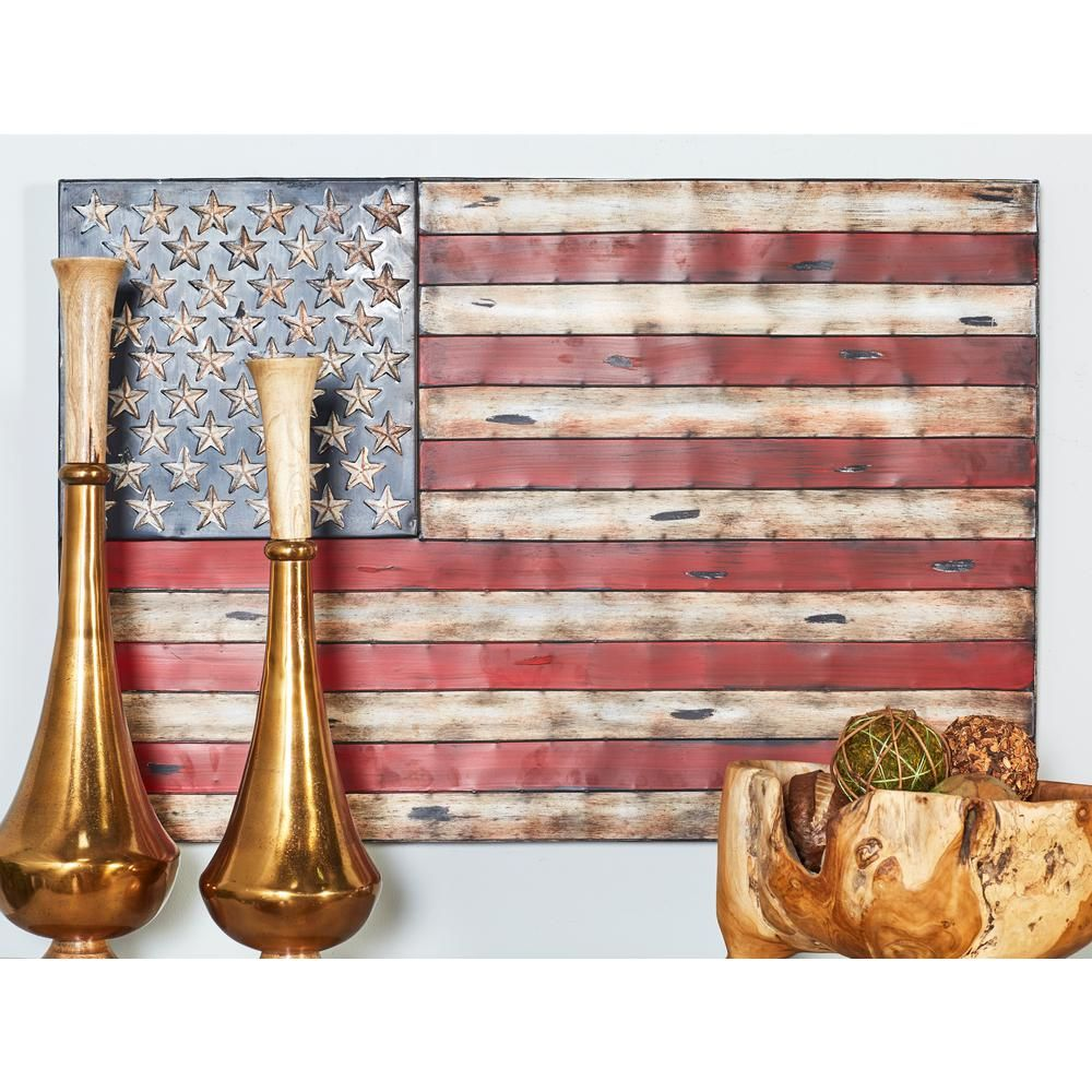Litton Lane Iron Distressed Multicolor American Flag Metal