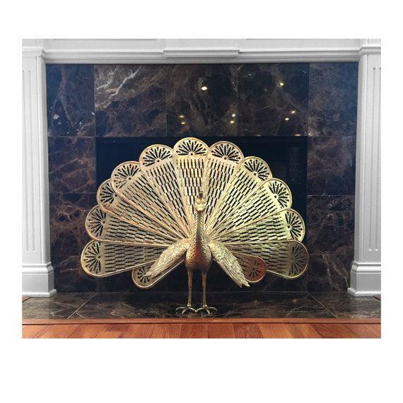 LARGE Vintage Brass Peacock Fireplace Fan - Gold Fireplace ...
