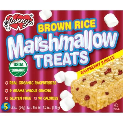 Glenny's - Brown Rice Marshmallow Treats - Raspberry Jubilee CONTAINS VEGETABLE GLYCEROL, BROWN RICE, PALM OIL