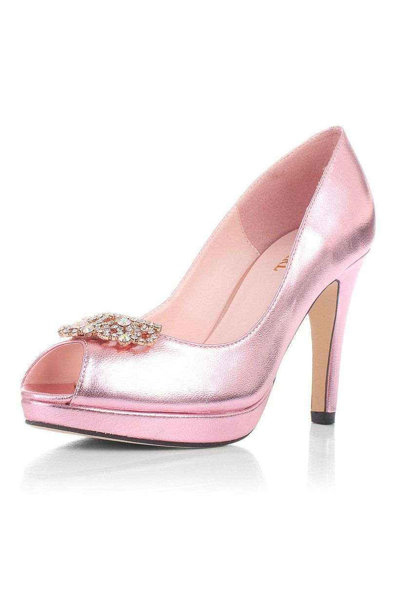 gorgeous rose gold platform wedding evening prom shoes