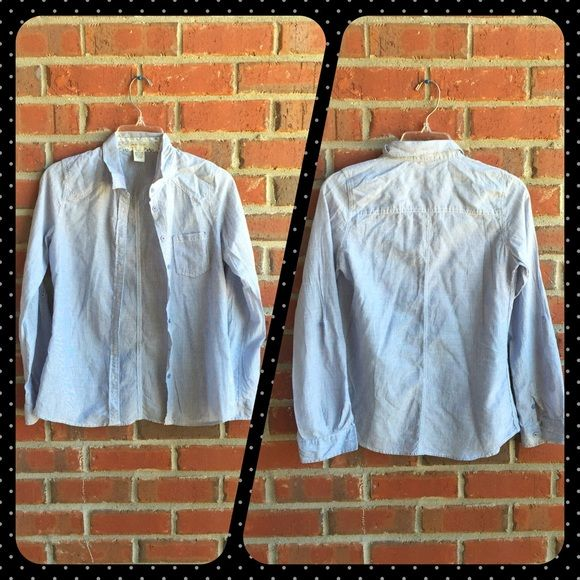 Blue Button Down Blue Love Notes long sleeve button down 100% cotton size small Love Notes Tops Button Down Shirts
