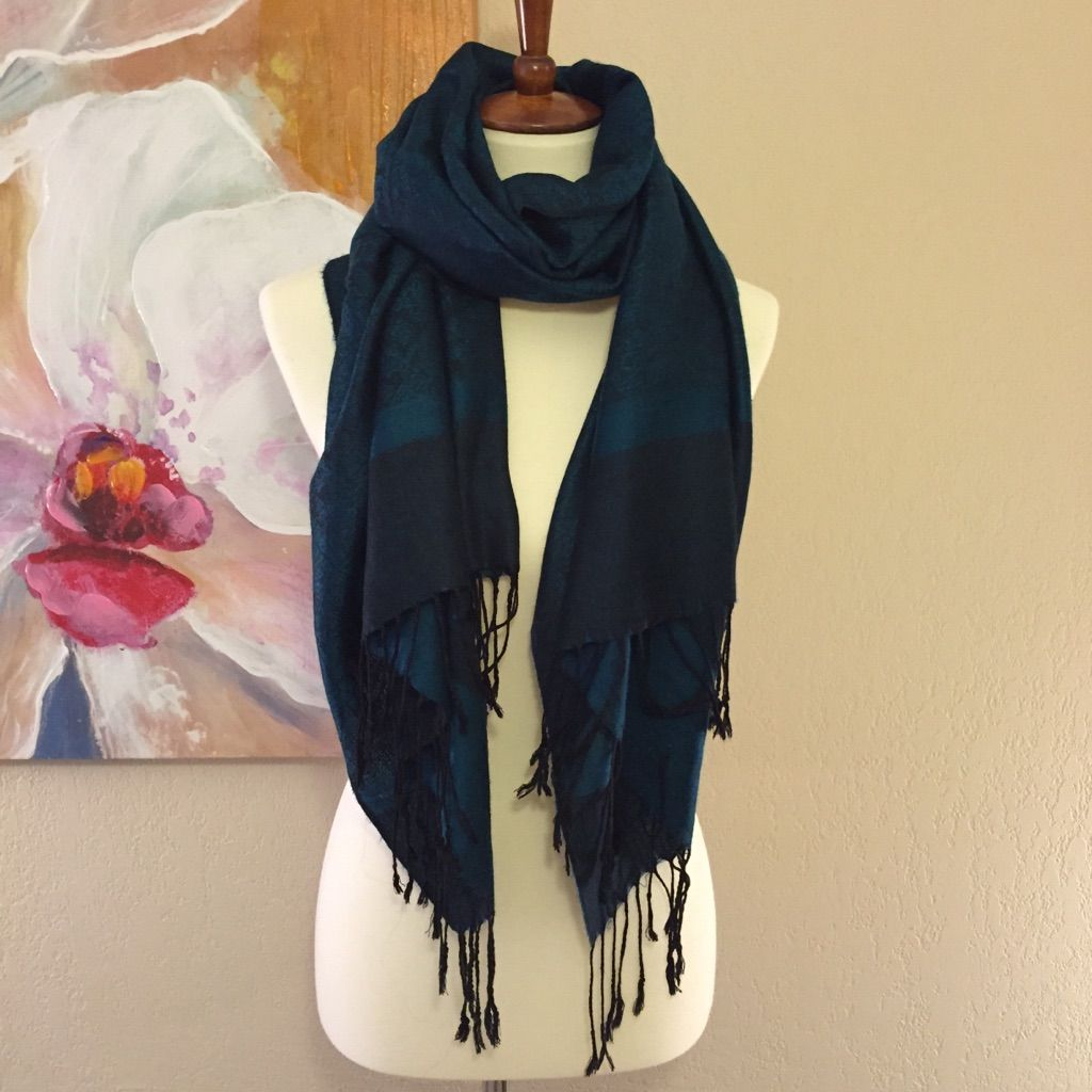 Dark Teal & Black Pashmina Scarf