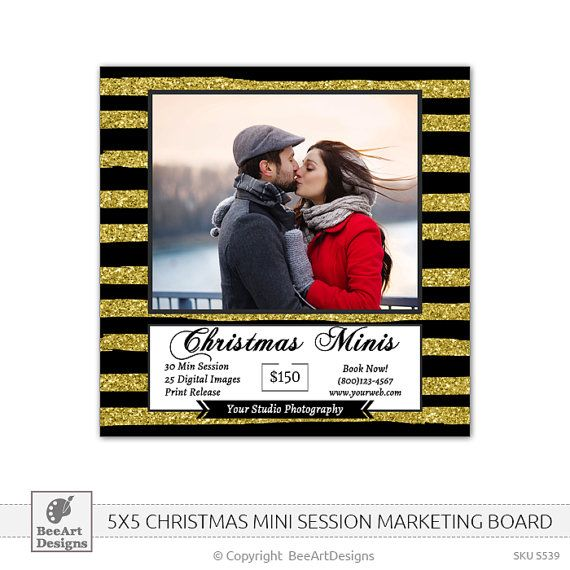 INSTANT DOWNLOAD  Christmas Minis Marketing Board, Winter Mini Sessions, Holiday Mini Sessions - Photoshop PSD Template 5x5 - s539