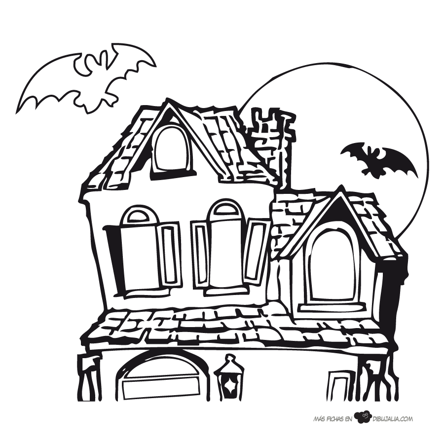 Atractivo Casa Embrujada De Halloween Para Colorear Elaboración ...