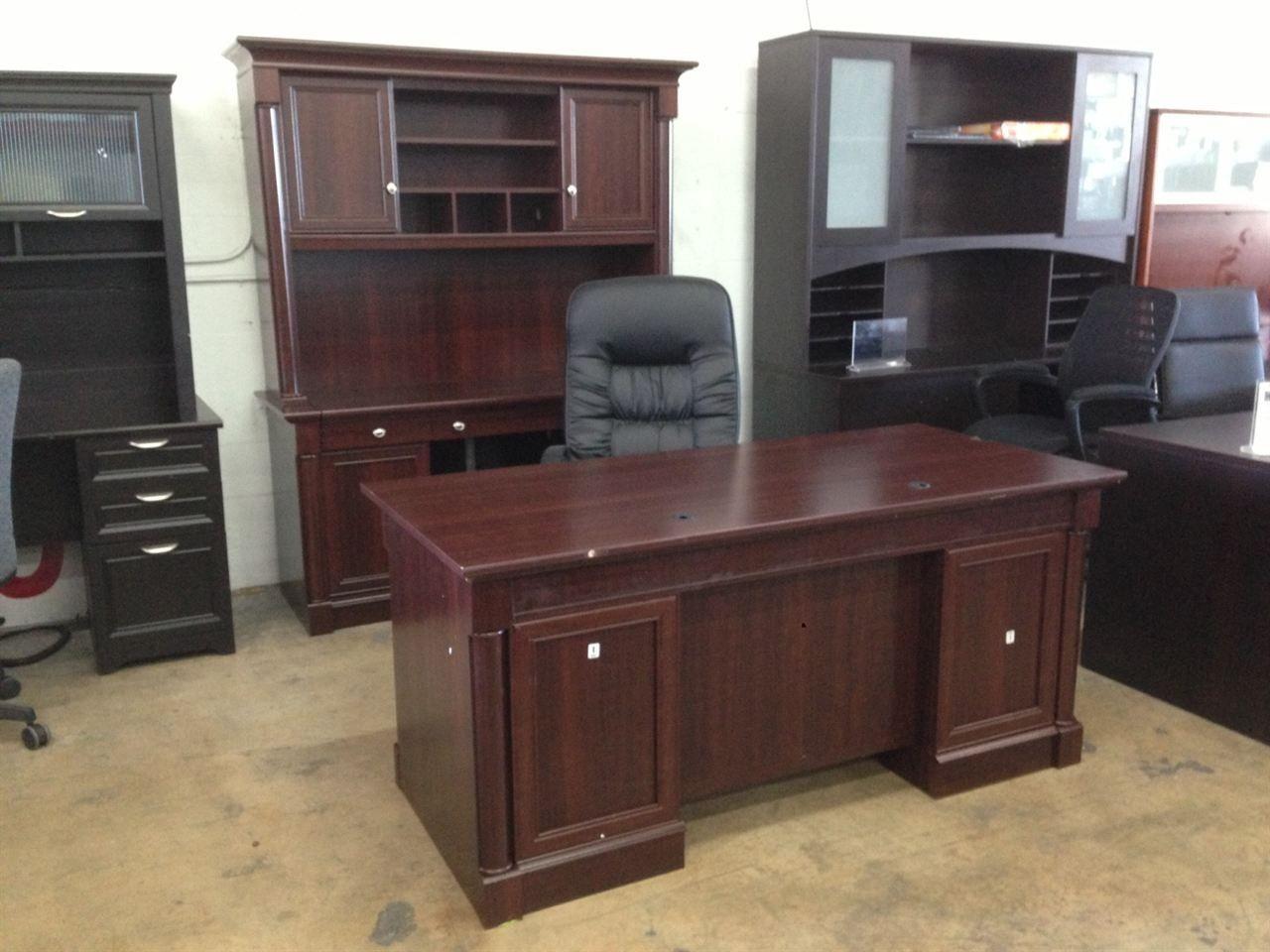 """Sauder Palladia Outlet Collection Executive Desk, 29 3/5""""h"""