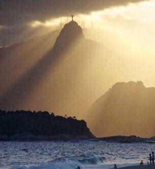 Christ the Redeemer - moon backdrop. Rio, #Brazil