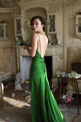 Fabulous green silk bias cut 30's style dress as worn on Keira Knightley in Atonement