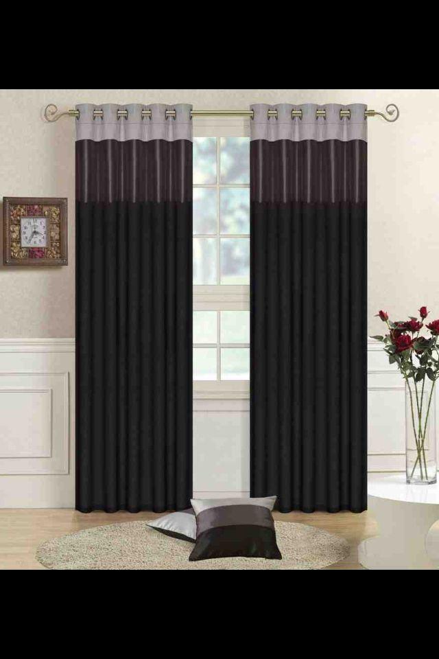 Living Room Curtains Idea Black Grey Silver