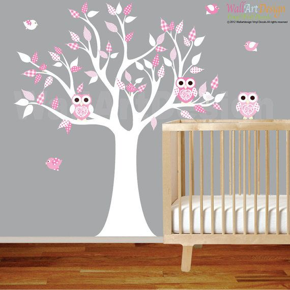 Vinyl Wall Decal Stickers White Pink Owl Tree Set Nursery Girls Baby