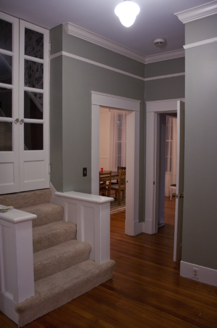 Nantucket Gray By Benjamin Moore Our Accent Wall Color In The Family Room Debating Running