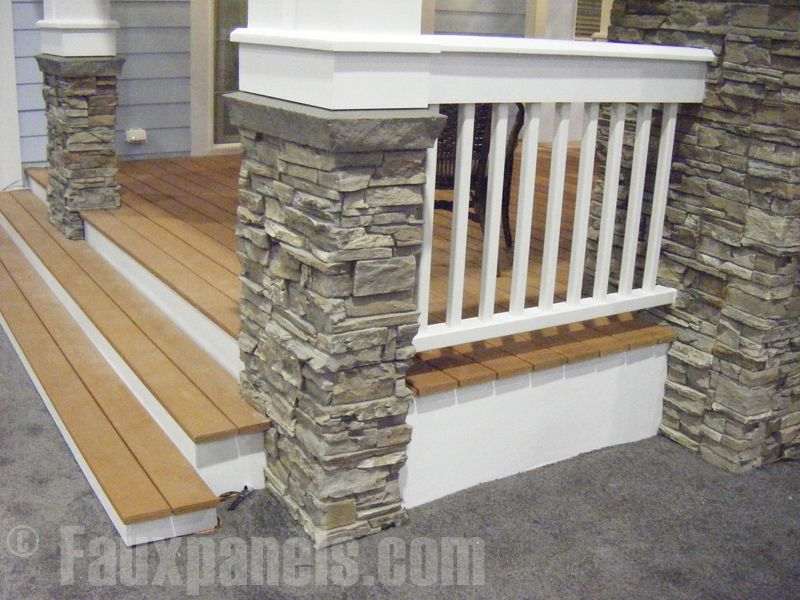 Illustrates Finishes Stained Decking On Porch Steps And Ramp
