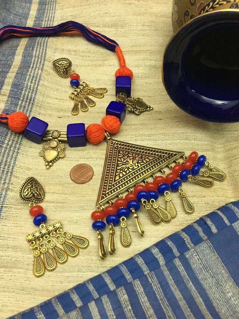 Antique pendant necklace set saree ornament and pendants
