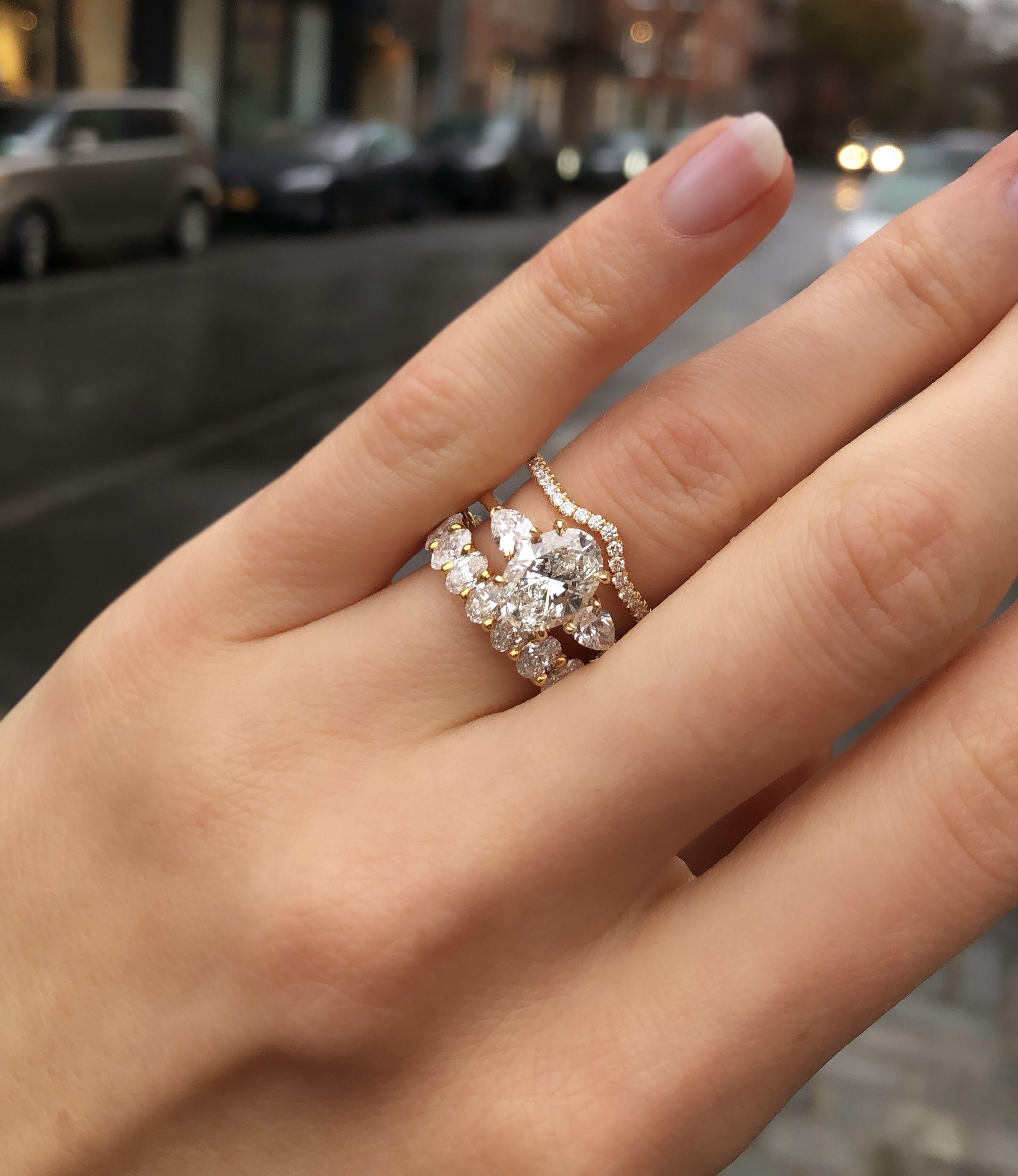 2 Ct Oval Cut Diamond Three Stone Engagement Wedding Ring 14k Yellow Gold Over