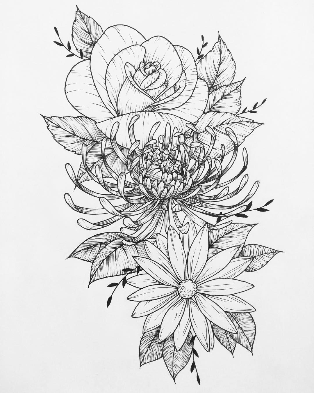 Most Recent Piece Done For A Very Nice Client Flowers Art Drawing Tattoo Flash Flower Chrysanthemum Tattoo Flower Tattoo Drawings Colorful Flower Tattoo