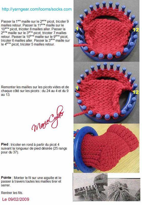 Chaussons au tricotin patron - Les créations de MarieNoel ...