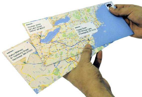 Cute! Google map envelopes. so simple and easy. Use the directions feature to put a blue line between the TO and the FROM.