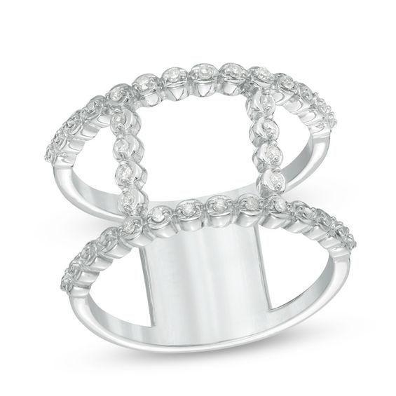 Zales 1/10 CT. T.w. Diamond Open Double Bar Ring in Sterling Silver ZmIvu