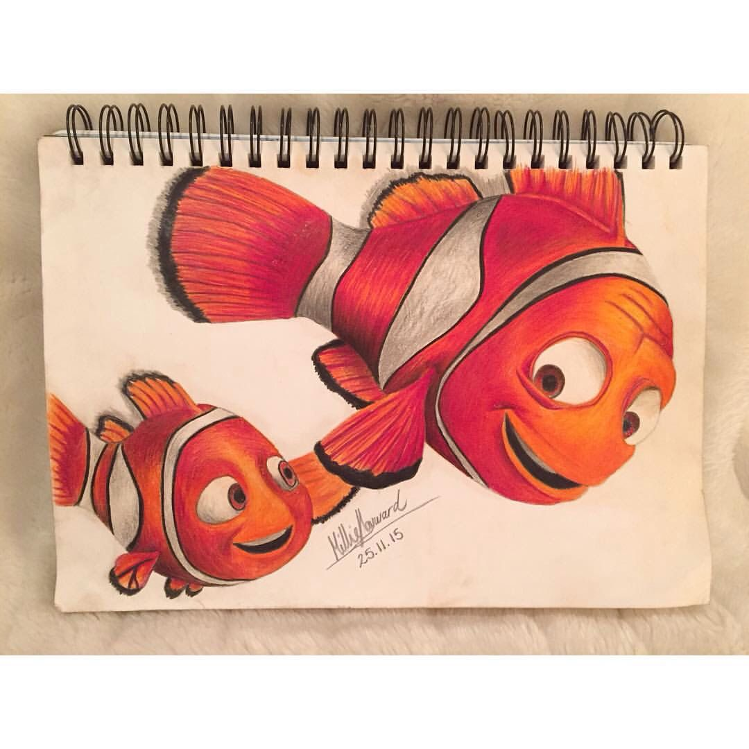 Finding Nemo S Marlin Nemo Hand Drawn Using Faber Castell Coloured Pencils Find On Instagram Millieha Disney Art Drawings Disney Paintings Prismacolor Art