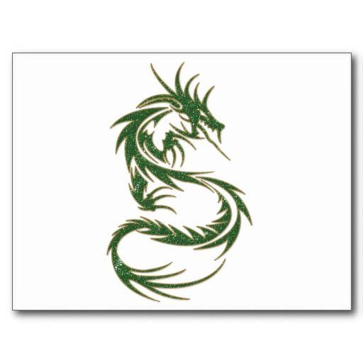 Green Tattoo Dragon Postcard Zazzle Com Tribal Dragon Tattoos Dragon Tattoos For Men Small Dragon Tattoos
