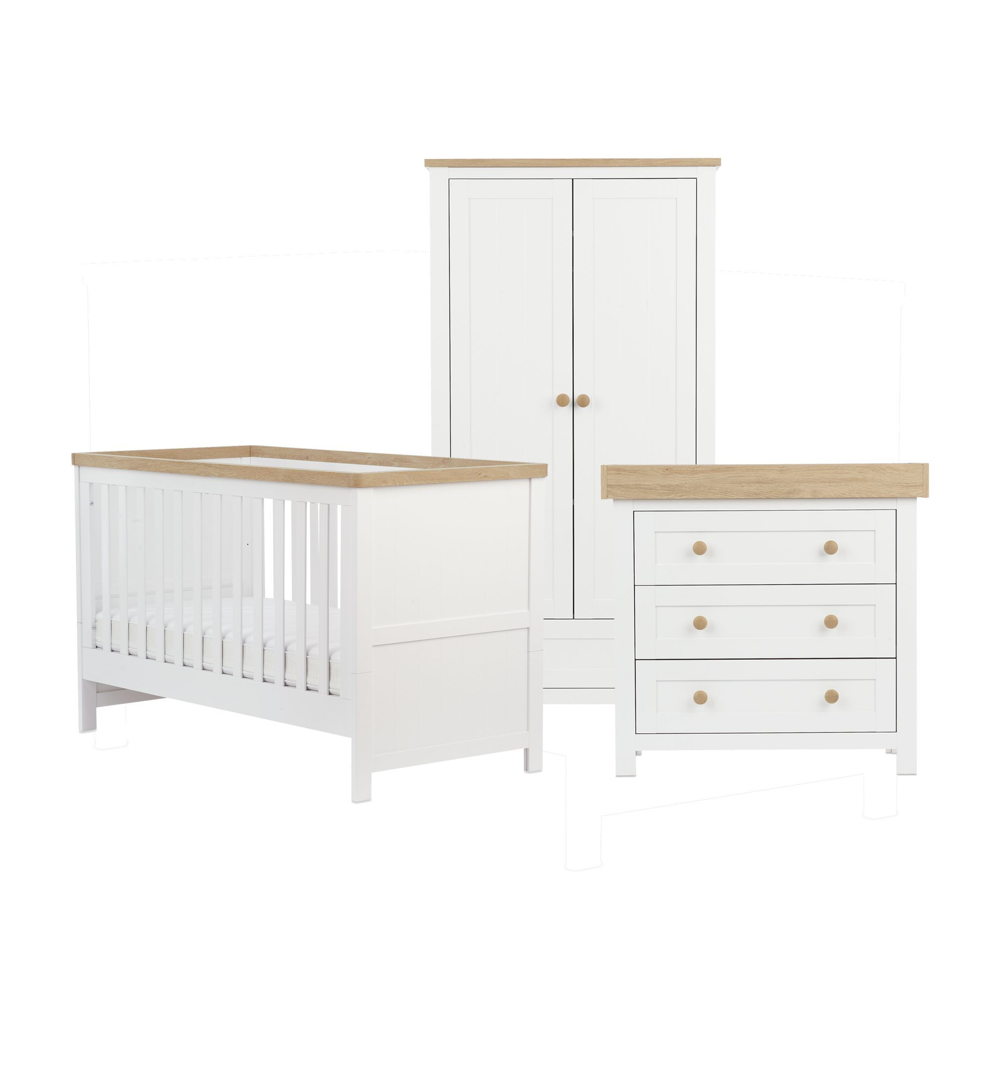 Mothercare Lulworth 3 Piece Nursery Furniture Set White