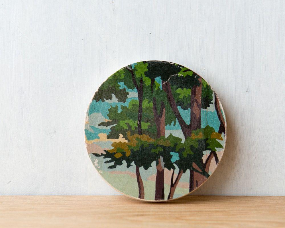 Paint by number circle art block utree topu woodland leaves vintage