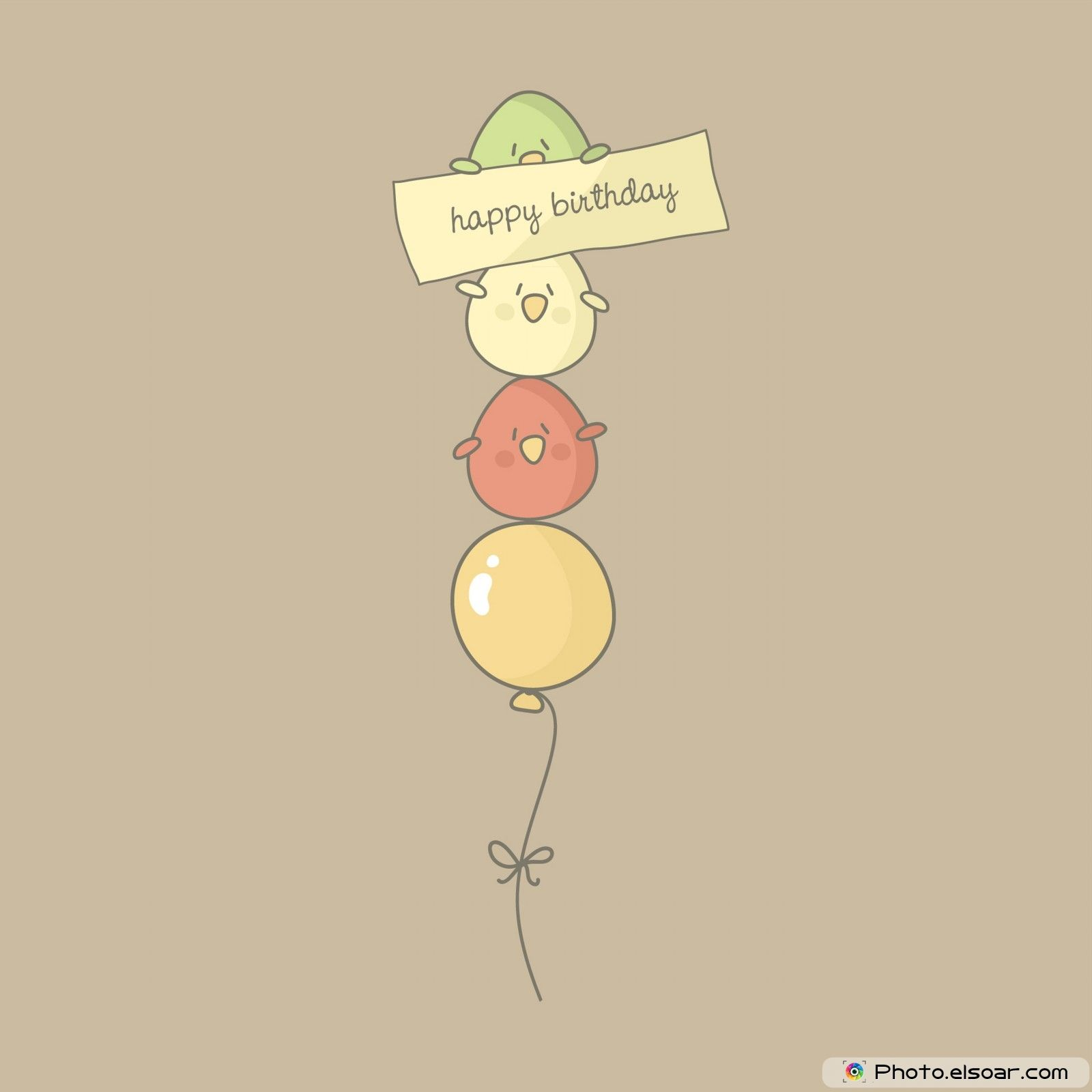 Birthday Card With Cute Birds Flying On A Balloon Happy Bday