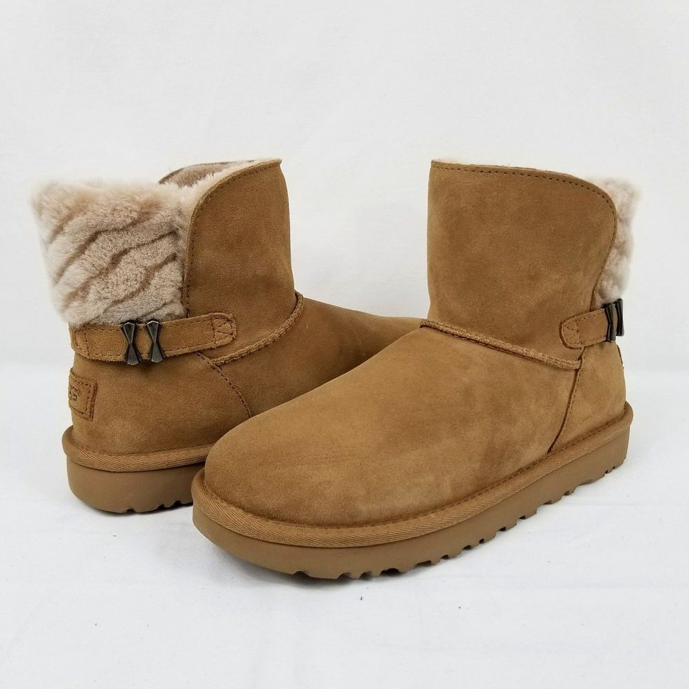 4e884d389ba UGG Adria Chestnut Size 7 Double Bow Womens Suede Sheepskin Boots ...