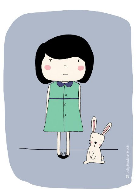 a little bunny friend - illustration - by Bo designs