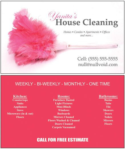 Samples of Cleaning Business Cards Business Cards, Custom - house cleaning flyer