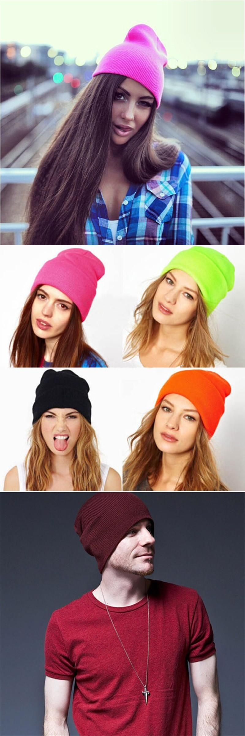 cef68824ec0 New Fashion Knitted Neon Hip-hop Hat Beanies Women Beanie Girls Autumn  Casual Cap Men