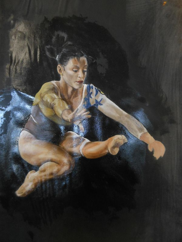 Catalina Ponor - An artistic gymnast oil painting study