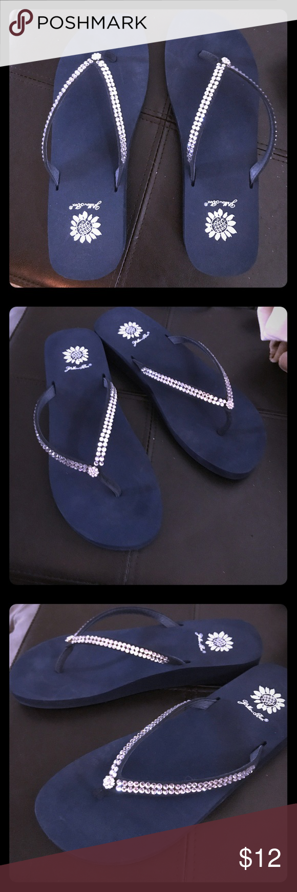 efca7908b207e5 Yellow box thong sandals with rhinestone trim Navy blue with rhinestone  trim sandals