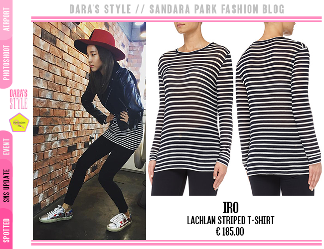 ea634b309578  SNS Update  151010 -  Dara s Instagram Post wearing   iroparis Lachlan  Striped T-Shirt