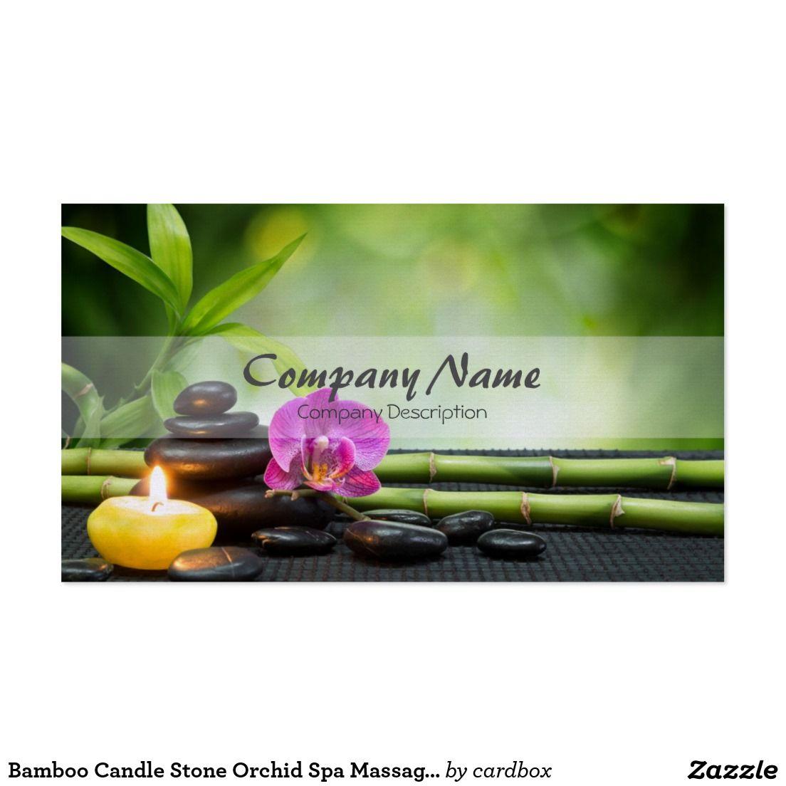 Terapia de bambú del masaje del balneario de la tarjetas de visita ...