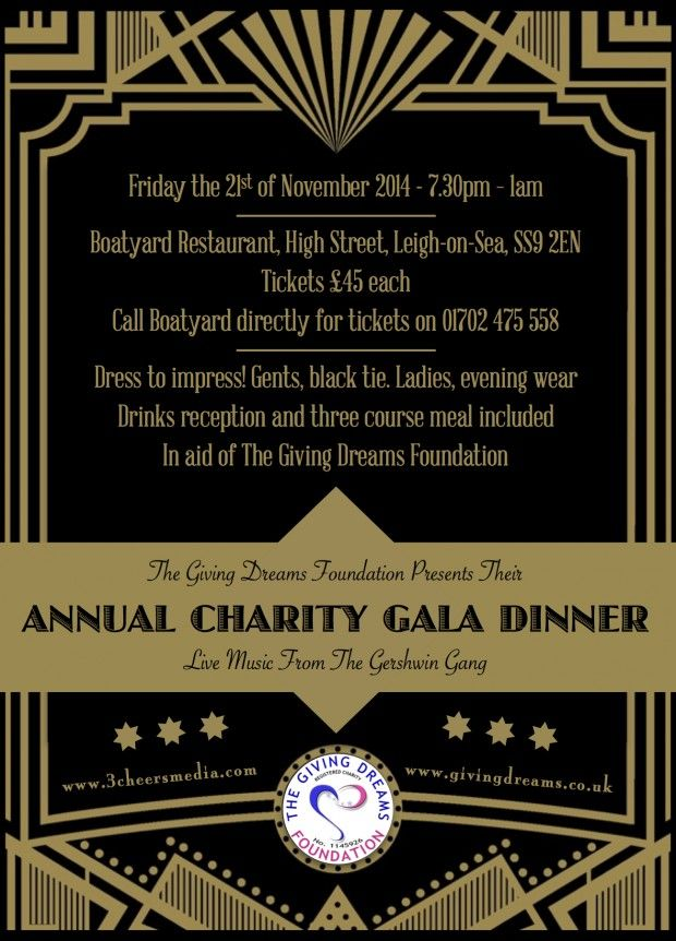 Giving Dreams Charity Flyer Design  Gala Dinner  Cheers