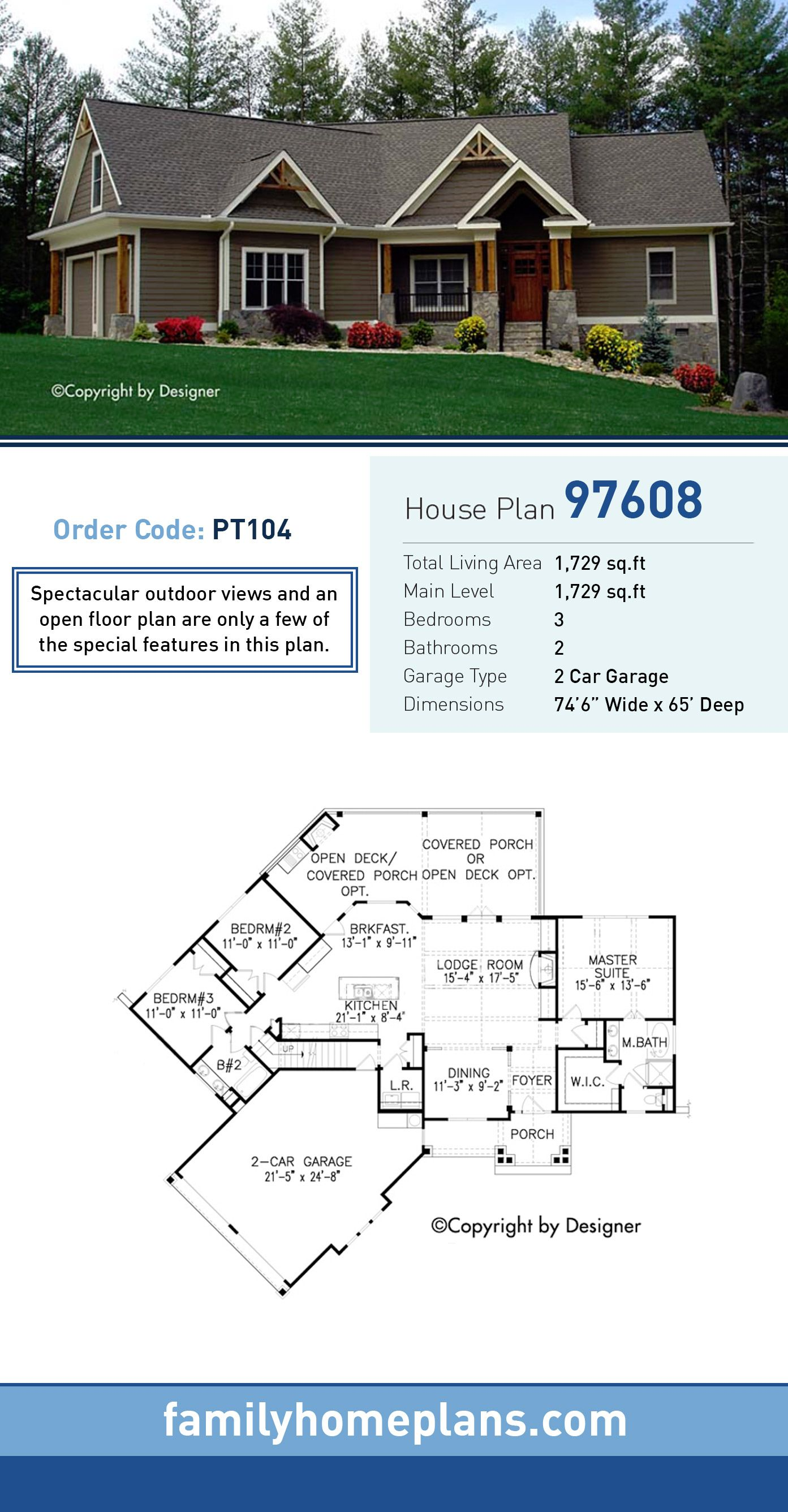 House Craftsman Ranch Traditional House Plan 97608