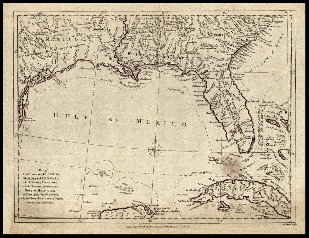 1781 Map of Florida Georgia Bahamas Gulf Mexico Cuba Antique