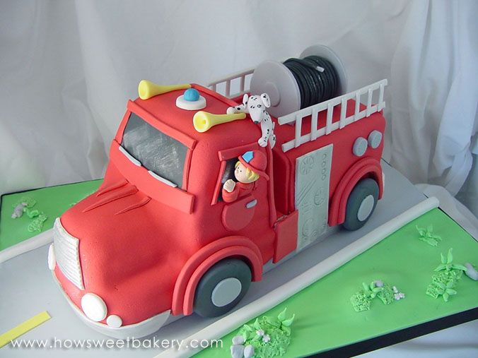 Retro Fire Engine Cake with firefighter and Dalmation Shared by