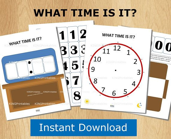 Clock Printables, Telling Time, Quiet Book, Kids Activity