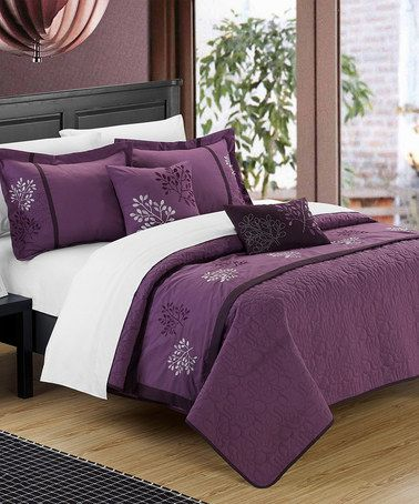 Love this Plum Kirsten Comforter Set on #zulily! #zulilyfinds  Now this is gorgeous. Would work with black, espresso, oak, or white stain bedframes, or metallic. Maybe not totally my style, but looks great!