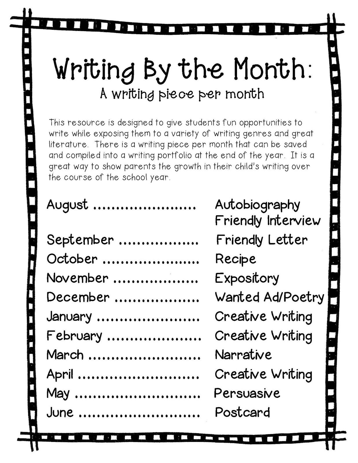 Writing Sample For Each Month Writing Portfolio Writing Prompts 2nd Grade Writing Skills Writing prompts for grade pdf
