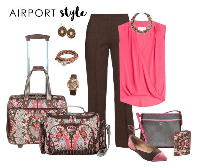 Airport Style by lwilkinson on Polyvore featuring Velvet, Raey, Coach, Stührling, NOVICA, GetTheLook and airportstyle