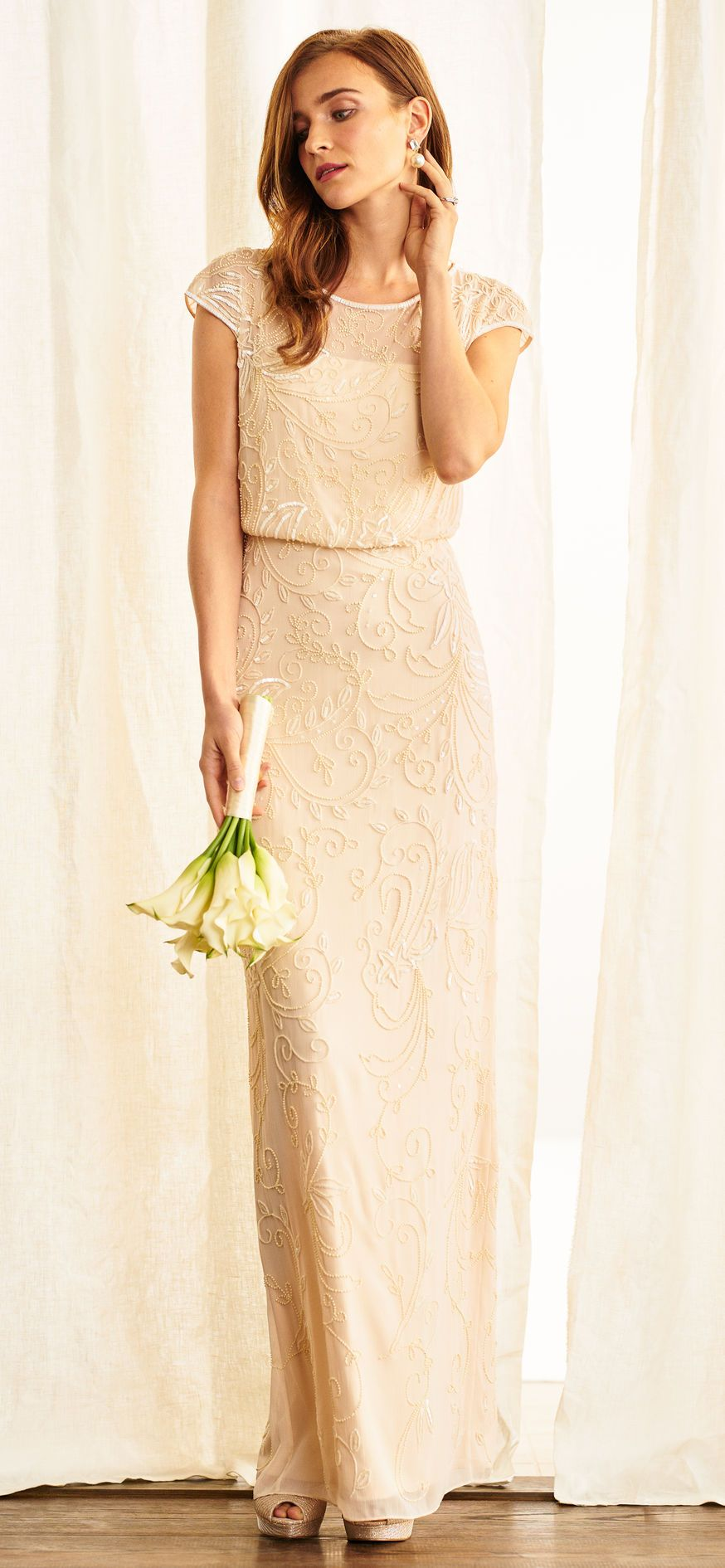 Cap sleeve beaded blouson dress with sheer neckline wedding dress