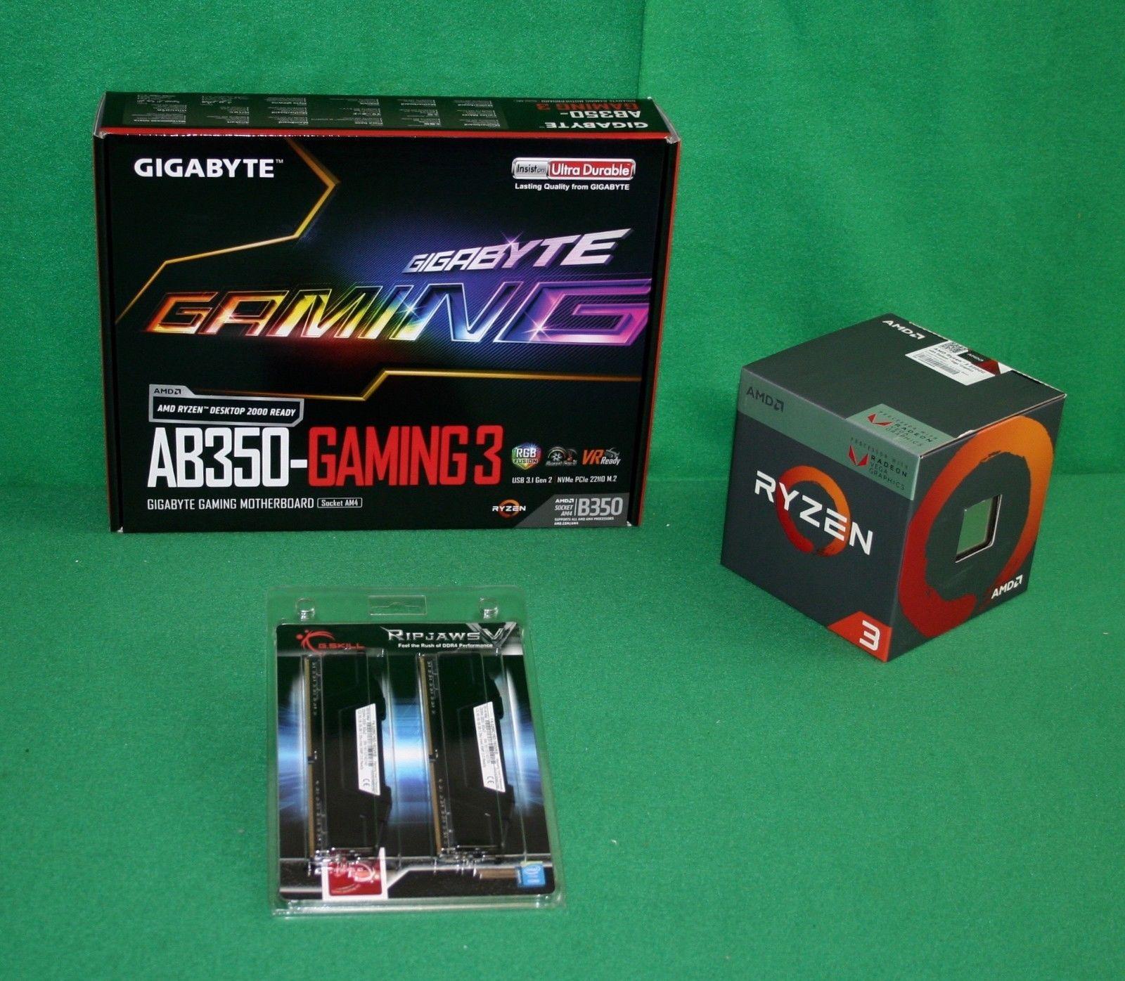 AMD Ryzen 3 2200G & Gigabyte AB350 Gaming 3 MB & 16GB RipJaws RAM Builder bo