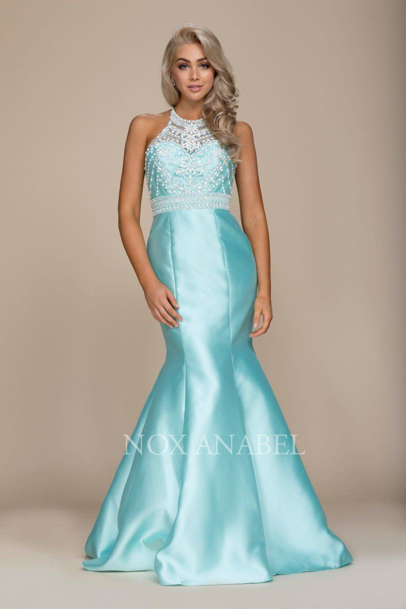 c527c084bb ... 8296 This high neck open back gown is sure to please! The form fitting  stretch taffeta skirt shows all of your curves yet its still comfortable to  wear.