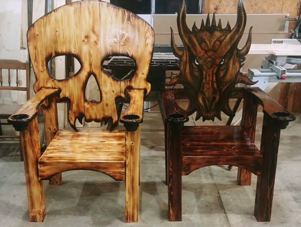 Potter Woodworks Of Illinois You Can Find Them On Facebook Diy Wood Projects Furniture Skull Furniture Custom Industrial Furniture